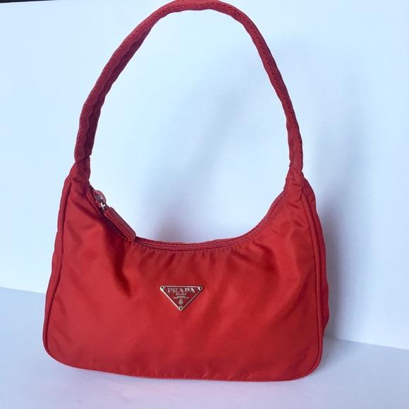 beb5bbefd5b6 Prada Mini Tessuto Nylon Bag in Red. M 5c753079409c1580e7515fe7